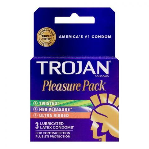 Trojan Pleasure Pack Lubricant Latex Condom, 3-Pack