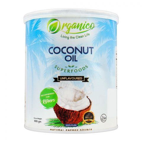Organico Coconut Oil, Unflavoured, 680g, Tin