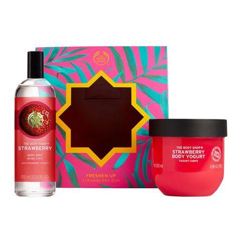 The Body Shop Freshen Up Strawberry Duo Gift Set, Body Yogurt + Body Mist, 91846
