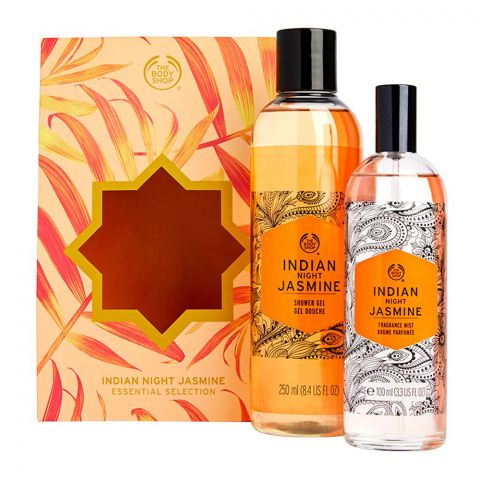 The Body Shop Indian Night Jasmine Essential Collection Gift Set, Shower Gel + Fragrance Mist, 91512