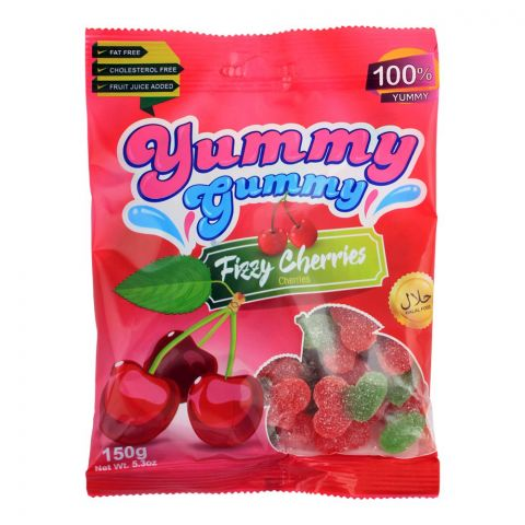 Yummy Gummy Jelly Fizzy Cherries, Gluten Free, 150g