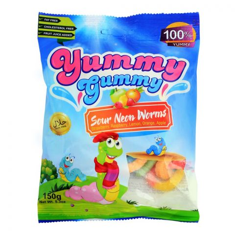 Yummy Gummy Jelly Sour Neon Worms, Gluten Free, 150g