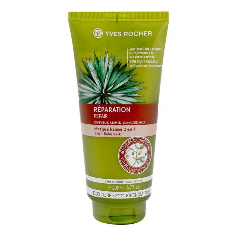Yves Rocher Reparation 2-In-1 Balm Mask, Damaged Hair, Silicone Free, 200ml