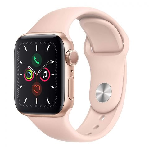 Apple Watch Series 5, 40mm, GPS, Gold Aluminum Case with Pink Sport Band, MWV72LL/A