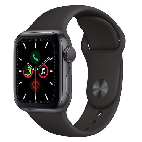 Apple Watch Series 5, 40mm, GPS, Space Gray Aluminum Case with Black Sport Band, MWV82LL/A
