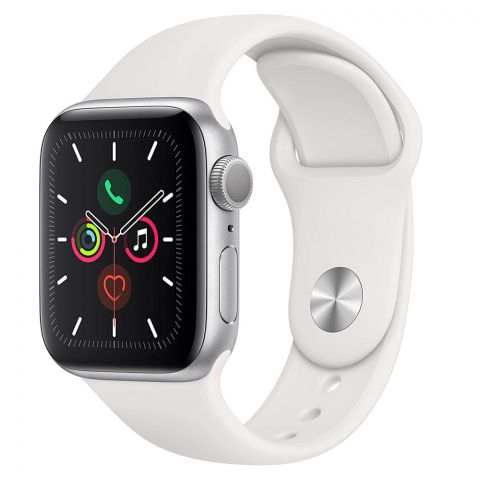 Apple Watch Series 5, 40mm, GPS, Silver Aluminum Case with White Sport Band, MWV62LL/A