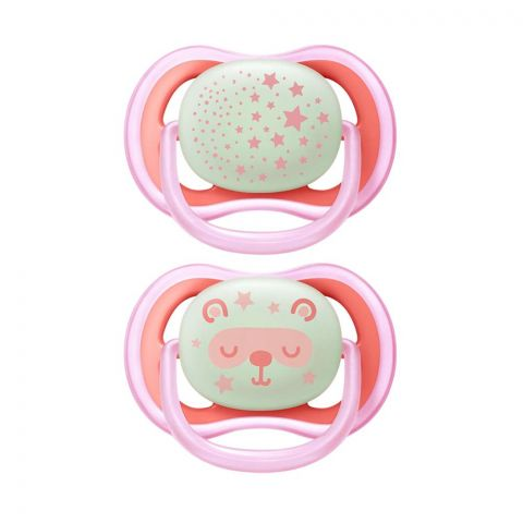 Avent Ultra Air Night Glow In The Dark, Soothers, 2-Pack, 6-18m, Pink, SCF376/20