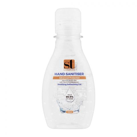 ST London Soothing Refreshing Gel Hand Sanitizer, 70% Isopropyl Alcohol, With Vitamin E, 100ml