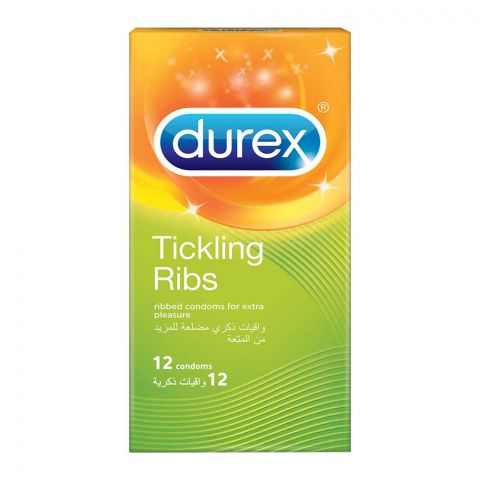 Durex Tickling Ribs Ribbed Condoms, 12-Pack
