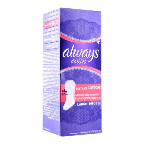 Always Dailies Soft Like Cotton Pantyliners, Large, 26-Pack