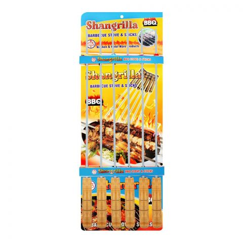 Shangrilla Iron Steel BBQ Stick Iron, Medium, 6-Pack