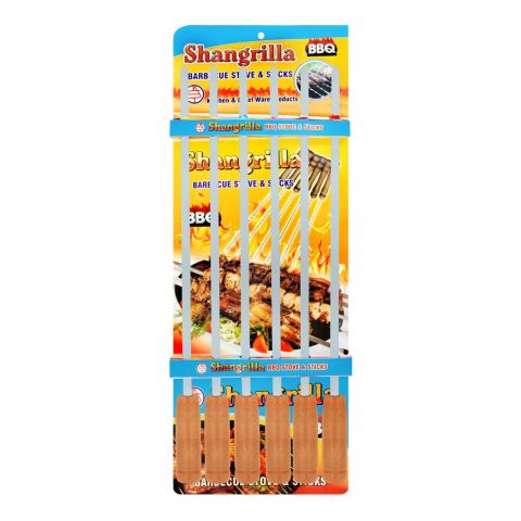 Shangrilla Stainless Steel BBQ Stick Plain Slim, 6-Pack