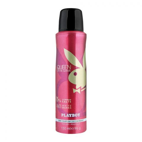 Playboy Queen Of The Game Anti-White Marks Deodorant Spray, For Women, 150ml