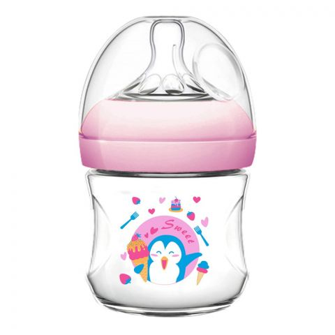 Pink Baby Superior-PP Ultra Wide Neck Feeding Bottle, Pink/Decorated, 0m+, Slow Flow, 120ml WN-111/01