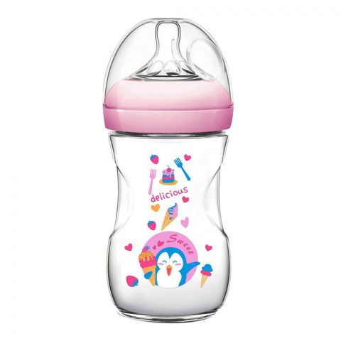 Pink Baby Superior-PP Ultra Wide Neck Feeding Bottle, Pink/Decorated, 3m+, Medium Flow, 240ml, WN-114/01