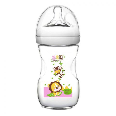 Pink Baby Superior-PP Ultra Wide Neck Feeding Bottle, White/Decorated, 3m+, Medium Flow, 240ml, WN-114/04