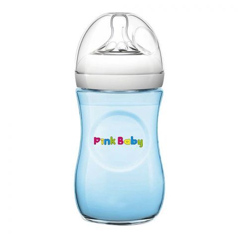 Pink Baby Superior-PP Ultra Wide Neck Feeding Bottle, Blue/Plain, 3m+, Medium Flow, 240ml, WN-115