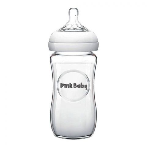 Pink Baby Ultra Wide Neck Glass Feeding Bottle, White, 3m+, Medium Flow, 240ml, WN-122