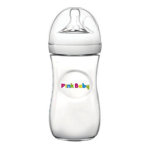 Pink Baby Superior-PP Ultra Wide Neck Feeding Bottle, White/Plain, 6m+, Large Flow, 330ml, WN-117