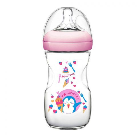Pink Baby Superior-PP Ultra Wide Neck Feeding Bottle, Pink/Decorated, 6m+, Large Flow, 330ml, WN-117/01
