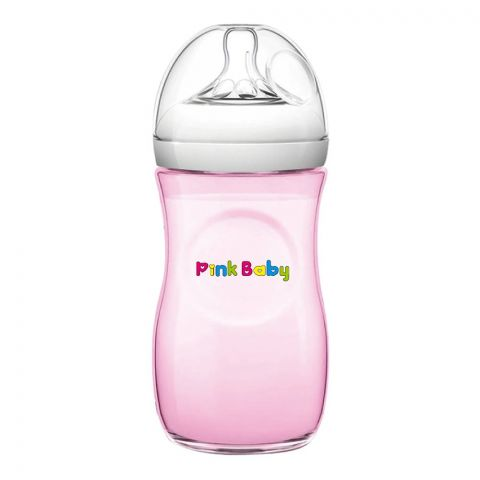 Pink Baby Superior-PP Ultra Wide Neck Feeding Bottle, Pink/Plain, 6m+, Large Flow, 330ml, WN-119