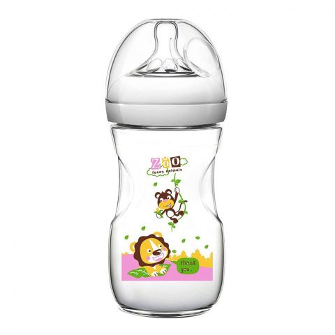 Pink Baby Superior-PP Ultra Wide Neck Feeding Bottle, Grey/Decorated, 6m+, Large Flow, 330ml, WN-117/04