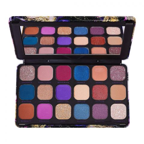 Makeup Revolution Forever Flawless Eyeshadow Palette, Eutopia, 18 Pieces