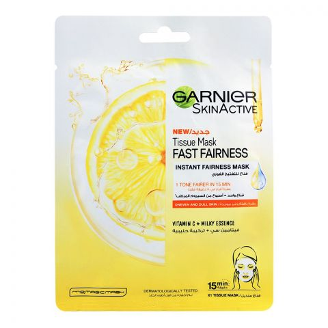 Garnier Skin Active Fast Fairness Instant Fairness Face Mask, Uneven & Dull Skin, 28g