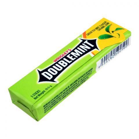 Wrigley's Doublemint Chewing Gum, Green Tea Mint Flavor, 5 Sticks