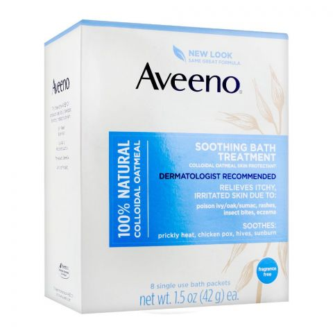 Aveeno Soothing Bath Treatment, 100% Natural Colloidal Oatmeal, Fragrance Free, 8-Pack, 42g