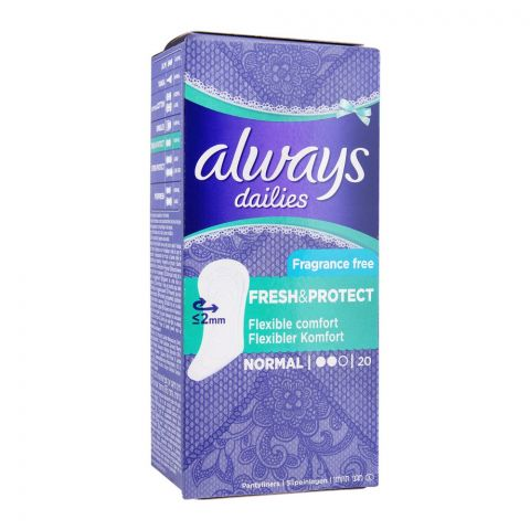 Always Dailies Fresh & Protect Panty Liners, Normal, Fragrance Free, 20-Pack