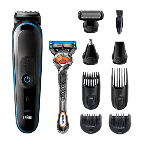 Braun All-in-One Trimmer 5, Beard & Hair, Rechargeable, 9-In-1 Styling Kit, MGK-5280