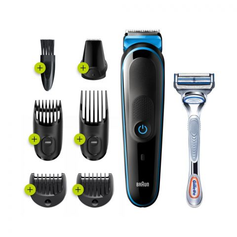 Braun All-in-One Trimmer 3, Beard & Hair, Rechargeable, 7-In-1 Styling Kit , MGK-3242