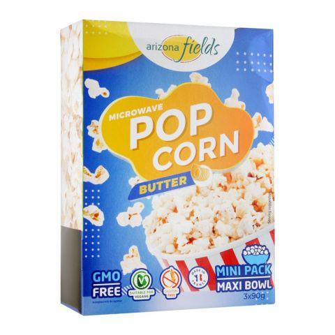 Arizona Fields Microwave Popcorn, Butter, Gluten Free, 3x90g
