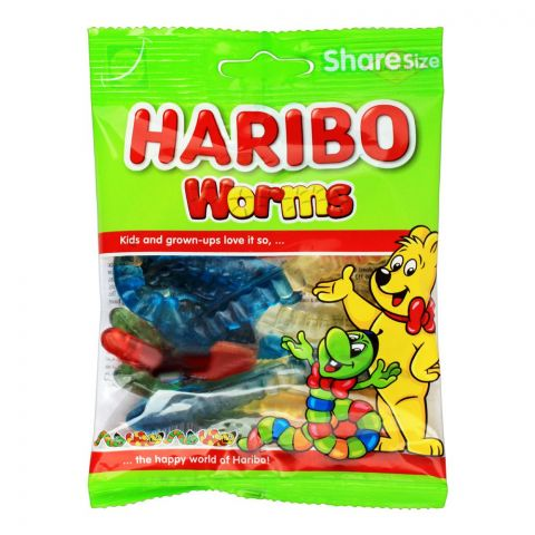 Haribo Worms Jelly, Share Size Pouch, 80g