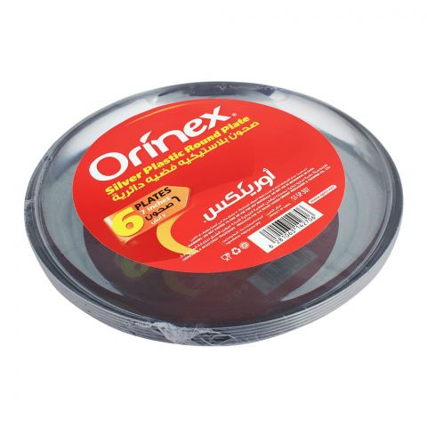 Orinex Silver Plastic Round Plate, 7 Inches, 6-Pack