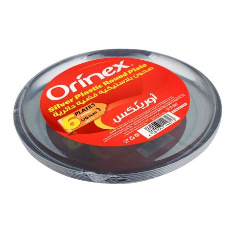 Orinex Silver Plastic Round Plate, 9 Inches, 6-Pack