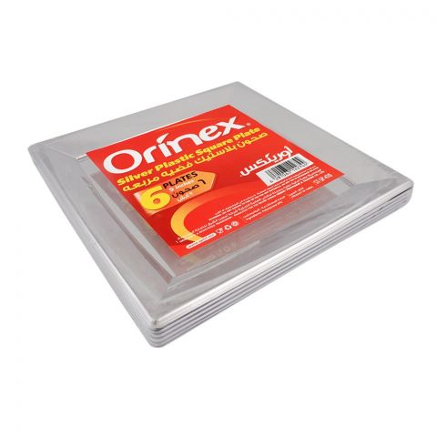 Orinex Silver Plastic Square Plate, 9 Inches, 6-Pack