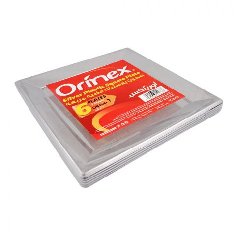 Orinex Silver Plastic Square Plate, 7 Inches, 6-Pack