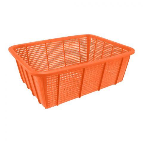 Lion Star Square Multi-Purpose Plastic Basket, Orange, Small, BW-26