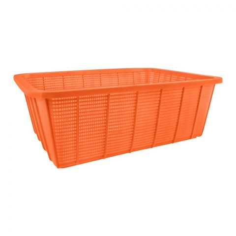 Lion Star Square Multi-Purpose Plastic Basket, Orange, Large, BW-28