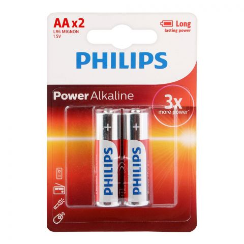 Philips Power Alkaline AA Batteries, 2-Pack, LR6P2B/97