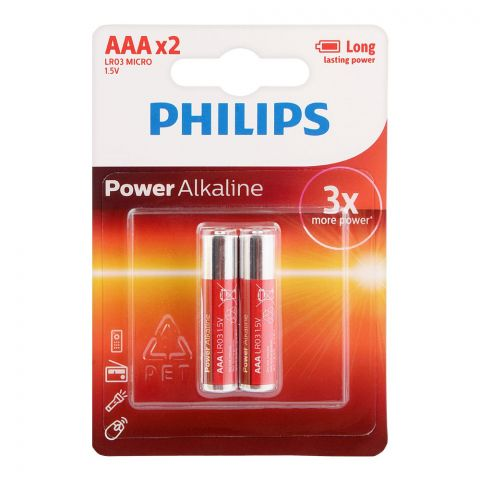 Philips Power Alkaline AAA Batteries, 2-Pack, LR03P2B/97