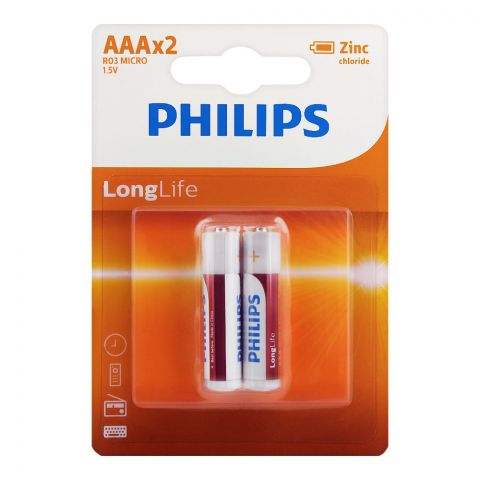Philips Zinc Chloride Long Life AAA Batteries, 2-Pack, R03L2B/97