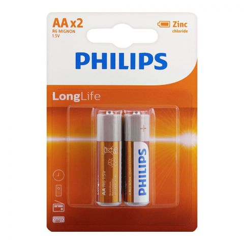 Philips Zinc Chloride Long Life AA Batteries, 2-Pack, R6L2B/97