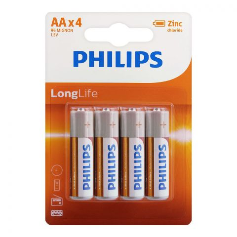 Philips Zinc Chloride Long Life AA Batteries, 4-Pack, R6L4B/97