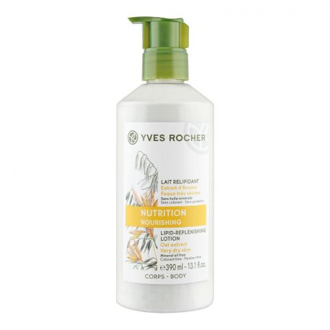 Yves Rocher Nutrition Nourishing Lipid Oat Extract Replenishing Lotion, Paraben Free, Very Dry Skin, Pump, 390ml