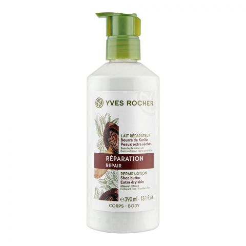 Yves Rocher Reparation Repair Shea Butter Lotion, Paraben Free, Extra Dry Skin, Pump, 390ml