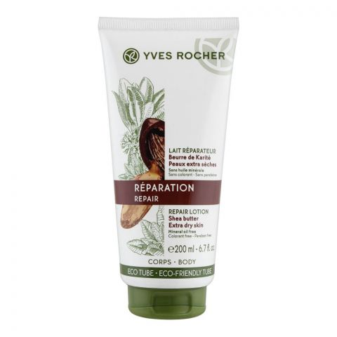 Yves Rocher Reparation Repair Shea Butter Lotion, Paraben Free, Extra Dry Skin, 200ml