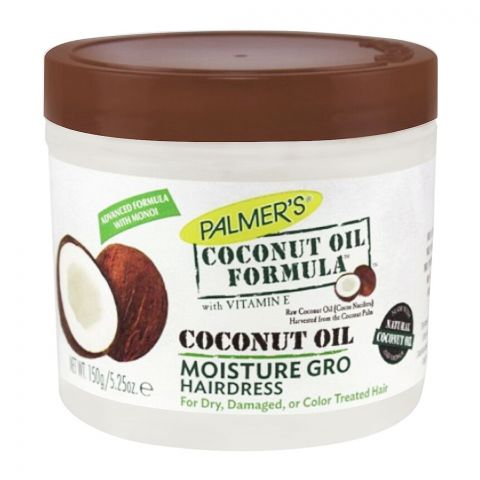 Palmer's Coconut Oil Formula Moisture Gro Hair Dress, Jar, For Dry, Damaged Or Color Treated Hair, 150g